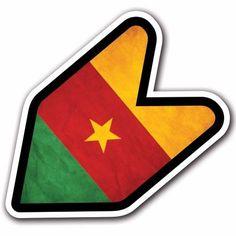 Grunge Cameroon - JDM Wakaba Leaf Flag Decal Sticker Car Mark Macbook Laptop #CUSTOMI