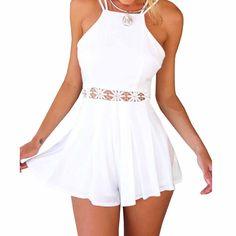 Minetom Sexy Damen Kleider Jumpsuits Shorts Halter Rückenfrei Verbindung Stück Tops Party Club Strand playsuit: Amazon.de: Bekleidung