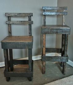 Pallet Wood Bar Stool with Back by UpcycledWoodworks on Etsy, $75.00 by lolita