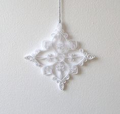 White Paper Snowflake, 4.7in Paper Quilled Snowflake, Christmas Snowflake…