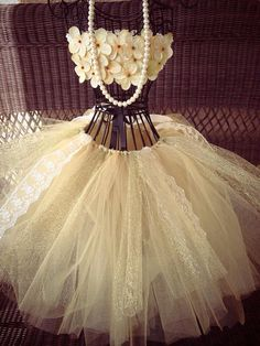 Newborn baby tutu dress, take home outfit, vintage, Gold, hydrangea, tulle, crochet tutu top, lace, wedding, flower girl,  on Etsy, $65.00
