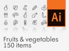 """查看此 @Behance 项目:""""Fruits & vegetables icon set, 150 items""""https://www.behance.net/gallery/45796339/Fruits-vegetables-icon-set-150-items"""