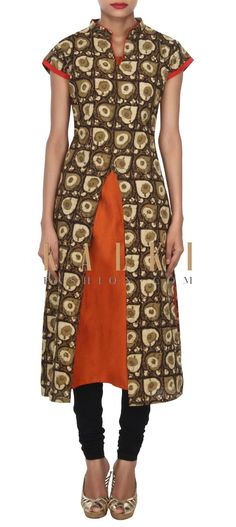 Buy this Olive kurti matched with orange lining only on Kalki