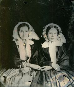 Portrait of two women, ca. 1850s. Sixth plate ambrotype on clear glass.