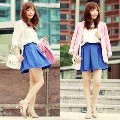 Choies Pink Blazer, Banggood White Blouse, Banggood Blue Skirt, Banggood Necklace, Choies Rockstud Perspex Heels, Proenza Schouler White Ps11 Tiny