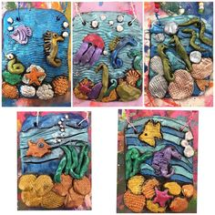 Sorry not sorry for flooding my feed with more of these third grade beauties! I hope to share a how-to video soon but with art show prep, I… 7th Grade Art, Third Grade, Fourth Grade, Clay Art For Kids, Cassie Stephens, Summer Art Projects, Ceramics Projects, Under The Sea, Art Education