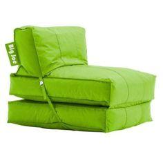 Big Joe Flip Lounger Green Bean Bag Chair Dorm Kids Room TV Couch Sofa  Sleeper Beanbag