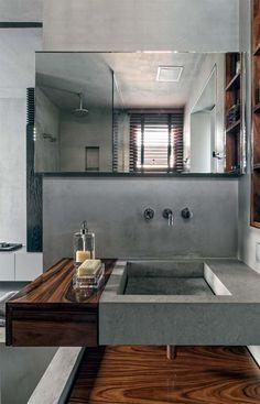 Apartamento de solteiro com um só tom de cinza