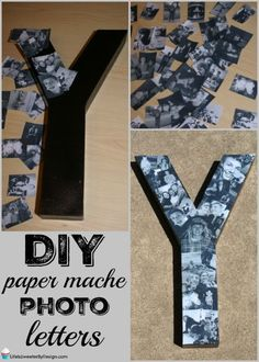 This DIY Paper Mache Photo Letters Collage is easy to make and is a great person. This DIY Paper Mache Photo Letters Collage is easy to make and is a great personalized gift idea! Check out my easy to f. Carta Collage, Letter Collage, Paper Mache Letters, Diy Letters, Cardboard Letters, Diy Party Letters, Diy Decoupage Letters, How To Paper Mache, Design Letters