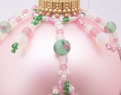 Pink and Green Victorian Style Elizabeth Beaded Ornament. via Etsy.