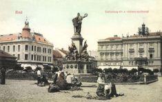 Arad:Szabadság-tér vértanú szobor és piac,1908. Neoclassical Architecture, Bucharest Romania, Budapest, Taj Mahal, Louvre, 1, Building, Travel, History