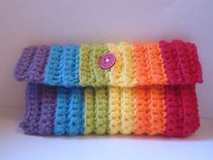 rainbow crochet pencil case (etsy)