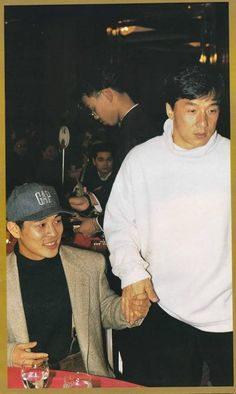 For those of you that thought you didn't need a picture of Jet Li and Jackie Chan holding hands in your life, think again. Hk Movie, Hong Kong Movie, Jet Li, Hapkido, Jackie Chan Quotes, Wing Chun, Kung Fu, Gorillaz, Brice Lee