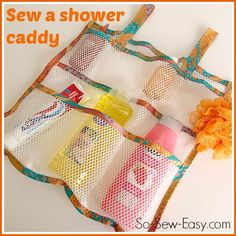 How to sew your own mesh shower caddy to hold and organise all your bottles and jars. Quick, easy sew project. Full directions and pattern included.