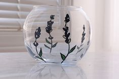 Lavender Glass Bowl Hand Painted Glass Small Decorative Candle Holders, Lavender, Cottage, Hand Painted, Etsy Shop, Candles, Elegant, Simple, Glass