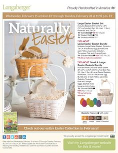 Naturally Easter! From February 15 through February 28, Longaberger's beautifully designed and hand-crafted Easter Baskets are available in our classic, solid wood stains – Warm Brown, Pewter, Vintage and Whitewashed We love the choice of decorating for Easter with a very simple and clean, natural theme You'll be amazed how 'simple' can be so beautiful and refreshing!  Order today http://shopus.longaberger.com/dawnleewalton