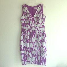 NWOT Purple & Grey Ikat Print Dress V-neck purple and grey Ikat print dress. Back zipper closure with two side pockets. NWOT. Dress Barn Dresses