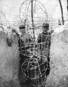 World War I 1914-1918: Barbed wire entaglements protecting French soldiers in their trenches..