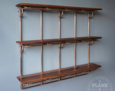 Copper Pipe Shelving unit in an Industrial / Urban / Vintage style. 3 Tier Hand Crafted Shelves with African Sapele Hardwood. Craft Shelves, Pipe Shelves, Bar Shelves, Display Shelves, Vintage Stil, Etsy Vintage, 15mm Copper Pipe, Copper Pipes, Handmade Shelving