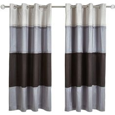 Panel Stripe Lined Eyelet Curtains ($64) ❤ liked on Polyvore featuring home, home decor, window treatments, curtains, striped curtains, black curtains, black panel, striped window treatments and black stripe curtains