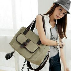 Stylish European Square Canvas Casual Shoulder Bags Apricot With A Pocket For Women