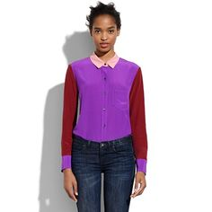 silk colorblock boyshirt  $118.00 Item#10989  Luxe silk meets a roomy boyfriend shape—you'll wear it day and night.  Boyfriend fit.  Silk.  Dry clean.  Import.  Madewell.com only.