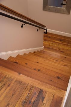 Antique Heart Pine flooring and stair treads