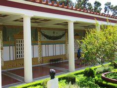 Hall surrounding the courtyard, Getty Villa, Malibu, California