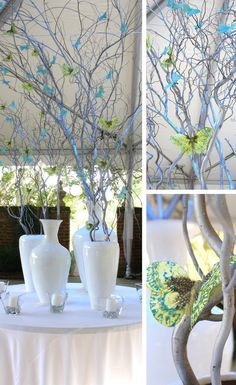 Love this branch idea for spring decor! Easy to change up colours and switch out the butterflies for something else too like flowers.