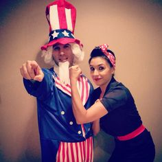 Patriotic Uncle Sam & Rosie the Riveter together, add your own ...