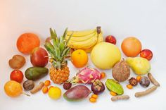 exotic fruits isolated on white background healthy eating dieting