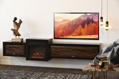 Floating Fireplace Wall Mount TV Stand - ECO GEO Espresso - Woodwaves Floating Fireplace, Fireplace Wall, Fireplace Design, Espresso, Wall Mount Tv Stand, Huge Tv, Floating Entertainment Center, Floating Tv Stand, Electric Fireplace Tv Stand