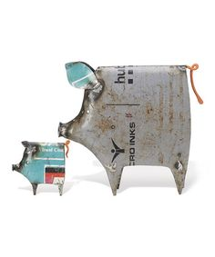 Look what I found on #zulily! Recycled Metal Pig Figurine Set #zulilyfinds - Can we make these!?!?!?