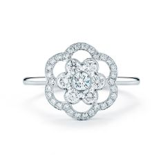 #Kwiat 18K White #Gold & #Diamond Open #Flower #Ring