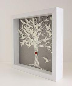 Lyric Wedding Gift Frame,  Love Birds tree Picture frame - Unique Personalized wedding gift.  lyrics vows date initials bride groom) via Etsy