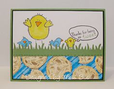 IC432 - So Tweet - stamps:  Birds/chicks (one stamp) - Rubbernecker; Sentiment - Gina K Designs; Cookie - Custer's Last Stamp (made in 2014)