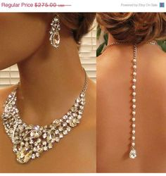 Wedding jewelry set, Bridal back drop bib necklace and earrings, vintage inspired crystal, pearl necklace