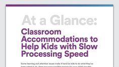 At a Glance: Classroom Accommodations for Slow Processing Speed - Kids with slow processing speed can have trouble keeping up in class, participating in discussions and staying focused. Here are some classroom accommodations that may help. Nonverbal Learning Disability, Learning Disabilities In Children, Teaching Social Skills, Teaching Tools, Teaching Ideas, Improve Reading Comprehension, Learning Support, Instructional Strategies, Classroom Management
