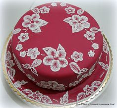 Veena's Art of Cakes: Brush Embroidery Cake Lace Design