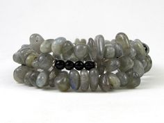 Labradorite Pebbles and Black Onyx Beads Memory Wire Bracelet #bc135 by CycleofLifeDesign on Etsy