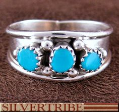 Navajo Genuine Sterling Silver And Turquoise Jewelry Ring DS55761