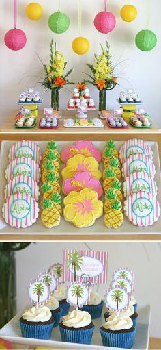 Plato sobre caja =stand y cupcakes con fundas amarillas y frosting verde como si fuese una piña