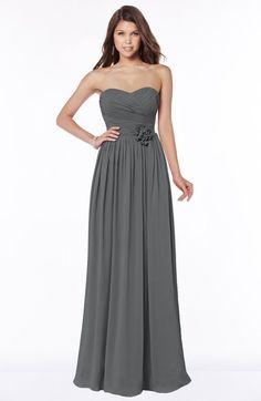 Grey Glamorous Sleeveless Chiffon Floor Length Ruching Bridesmaid Dresses