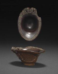 A rhinoceros horn libation cup, 17th-18th century