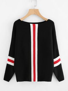 SheIn offers Contrast Striped Panel Ribbed Sweater & more to fit your fashionable needs. Ribbed Sweater, Pullover Sweaters, High Fashion Outfits, Fashion Dresses, Pullover Designs, Cozy Fashion, Women's Fashion, Blazers, Cute Casual Outfits