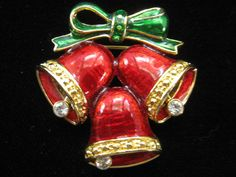 Vintage Red & Green Enamel Christmas Bell Pin by mimisvintageshop, $12.00