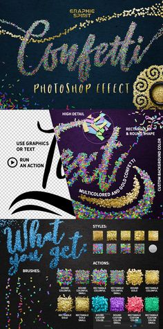 Make super joyful and colorful designs by using this Effect Confetti for Photoshop. A variety of styles and options, gold, multi-colored, round, rectangular, small, large, and of course customized color confetti. Click instantly on the 'Quick Start' template, then ready to print it at 300 ppi. Let's use any graphics and text we can to turn it into a fun festive scattering of confetti!