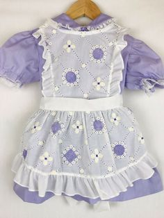 8eb9a8f6ed Vintage Purple Spring Flowers Daisy Semi Sheer Ruffle Apron Girls Party Dress  4T  Unbranded  Party