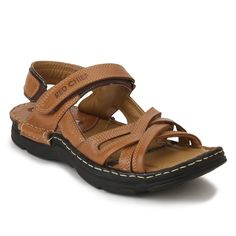Step out in style in these Elephant Tan low ankle slip on sandals for men from PowerFlex by Red Chief. The highly padded upper and foot-bed will provide 360° comfort and flexibility while the one point closure of hook and loop provides great adjustability and easy wear to these men's sandals and makes them the best pick in your men's sandal collection. Men's Sandals, Leather Sandals, Red Chief, Stylish Sandals, Tie Knots, Easy Wear, Flexibility, Footwear, Bmw