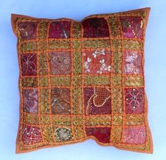 indian Handmade Patchwork cotton Cushion Cover Home Decor Pillow Cases KH110 #Handmade #Ethnic